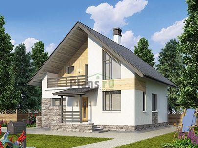 Проект дома с мансардой 9x11 метров, общей площадью 112 м2, из газобетона (пеноблоков), c котельной, лоджией и кухней-столовой