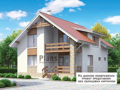 Проект дома с мансардой 9x11 метров, общей площадью 147 м2, из газобетона (пеноблоков), c террасой, котельной и кухней-столовой