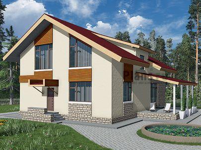 Проект дома с мансардой 9x12 метров, общей площадью 154 м2, из керамических блоков, c террасой, котельной и кухней-столовой