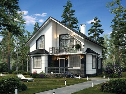 Проект дома с мансардой 9x13 метров, общей площадью 145 м2, из керамических блоков, c террасой, котельной и кухней-столовой