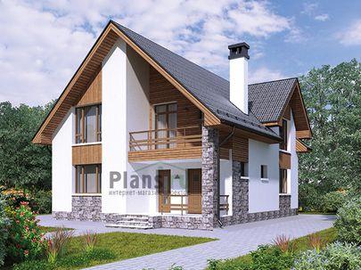 Проект дома с мансардой 9x14 метров, общей площадью 146 м2, из газобетона (пеноблоков), c террасой, котельной и кухней-столовой
