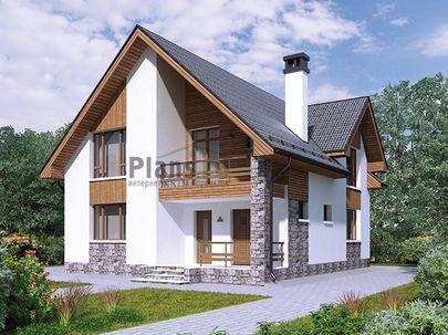 Проект дома с мансардой 9x14 метров, общей площадью 146 м2, из керамических блоков, c террасой, котельной и кухней-столовой
