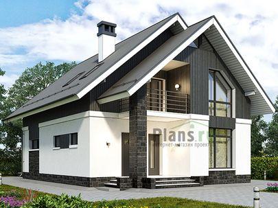 Проект дома с мансардой 9x15 метров, общей площадью 140 м2, из керамических блоков, c террасой, котельной и кухней-столовой