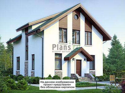 Проект дома с мансардой 9x15 метров, общей площадью 146 м2, из газобетона (пеноблоков), c террасой, котельной и кухней-столовой
