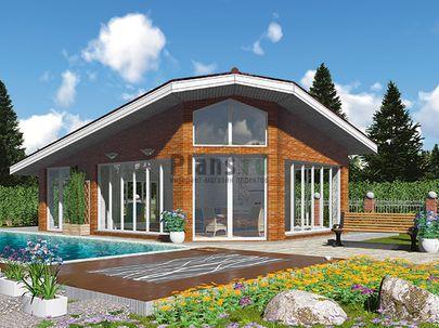 Проект дома с мансардой 9x6 метров, общей площадью 40 м2, из керамических блоков, c кухней-столовой