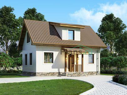 Проект дома с мансардой 9x6 метров, общей площадью 71 м2, из керамических блоков