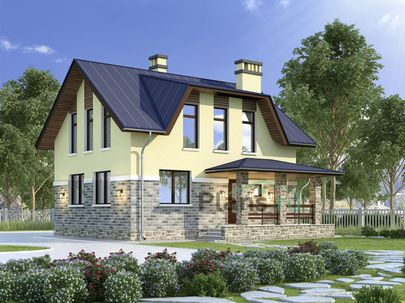 Проект дома с мансардой 9x7 метров, общей площадью 109 м2, из газобетона (пеноблоков), c котельной и кухней-столовой