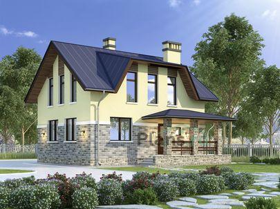 Проект дома с мансардой 9x7 метров, общей площадью 109 м2, из кирпича, c котельной и кухней-столовой