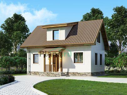 Проект дома с мансардой 9x7 метров, общей площадью 85 м2, из газобетона (пеноблоков), c котельной и кухней-столовой