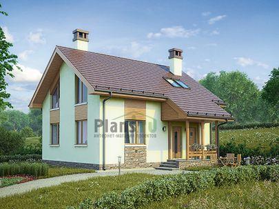 Проект дома с мансардой 9x8 метров, общей площадью 103 м2, из газобетона (пеноблоков), c котельной и кухней-столовой