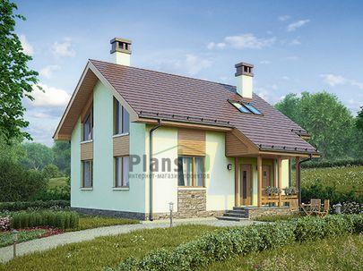 Проект дома с мансардой 9x8 метров, общей площадью 107 м2, из газобетона (пеноблоков), c котельной и кухней-столовой