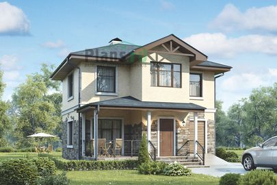 Проект дома с мансардой 9x8 метров, общей площадью 83 м2, из керамических блоков, c гаражом и террасой