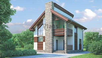 Проект дома с мансардой 9x8 метров, общей площадью 93 м2, из кирпича, c террасой и котельной