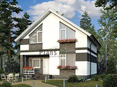 Проект дома с мансардой 9x9 метров, общей площадью 107 м2, из газобетона (пеноблоков), c котельной и кухней-столовой