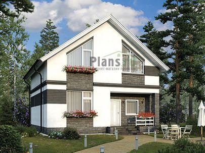 Проект дома с мансардой 9x9 метров, общей площадью 107 м2, из кирпича, со вторым светом, c котельной и кухней-столовой