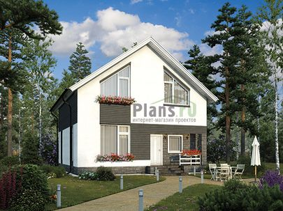 Проект дома с мансардой 9x9 метров, общей площадью 114 м2, из газобетона (пеноблоков), c котельной и кухней-столовой
