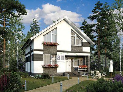 Проект дома с мансардой 9x9 метров, общей площадью 114 м2, из газобетона (пеноблоков), c террасой, котельной и кухней-столовой