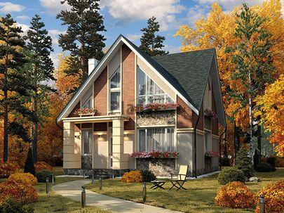 Проект дома с мансардой 9x9 метров, общей площадью 114 м2, из кирпича, c котельной и кухней-столовой