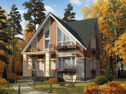 Проект дома с мансардой 9x9 метров, общей площадью 115 м2, из газобетона (пеноблоков), c котельной и кухней-столовой