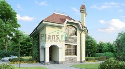 Проект дома с мансардой 9x9 метров, общей площадью 115 м2, из кирпича, c кухней-столовой