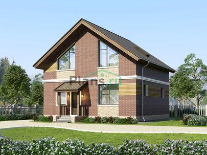Проект дома с мансардой 9x9 метров, общей площадью 118 м2, из кирпича, c котельной и кухней-столовой
