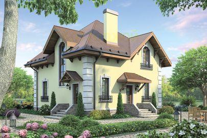 Проект дома с мансардой 9x9 метров, общей площадью 126 м2, из кирпича, c котельной и кухней-столовой