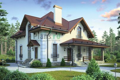 Проект дома с мансардой 9x9 метров, общей площадью 129 м2, из керамических блоков, c террасой, котельной и кухней-столовой