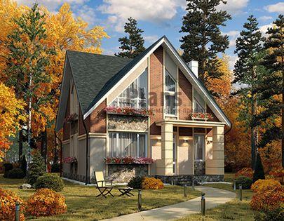 Проект дома с мансардой 9x9 метров, общей площадью 130 м2, из газобетона (пеноблоков), c котельной и кухней-столовой