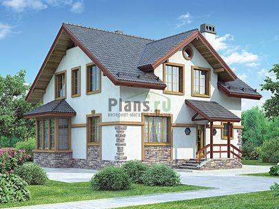 Проект дома с мансардой 9x9 метров, общей площадью 130 м2, из кирпича, c котельной и кухней-столовой