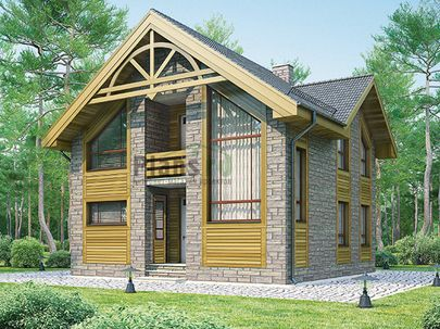 Проект дома с мансардой 9x9 метров, общей площадью 135 м2, из керамических блоков, c котельной и кухней-столовой