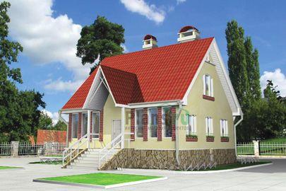 Проект дома с мансардой 9x9 метров, общей площадью 137 м2, из газобетона (пеноблоков)