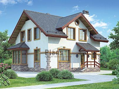 Проект дома с мансардой 9x9 метров, общей площадью 137 м2, из керамических блоков, c котельной и кухней-столовой