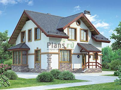 Проект дома с мансардой 9x9 метров, общей площадью 140 м2, из кирпича, c котельной и кухней-столовой