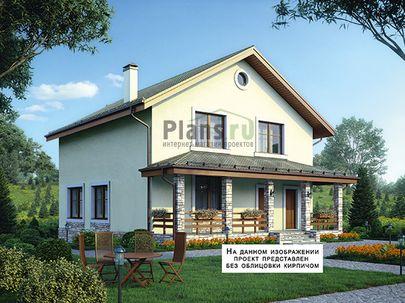 Проект дома с мансардой 9x9 метров, общей площадью 147 м2, из кирпича, c террасой, котельной и кухней-столовой