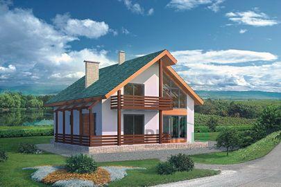 Проект дома с мансардой 9x9 метров, общей площадью 147 м2, из кирпича, со вторым светом, c террасой и котельной