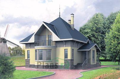 Проект дома с мансардой 9x9 метров, общей площадью 162 м2, из газобетона (пеноблоков), c кухней-столовой