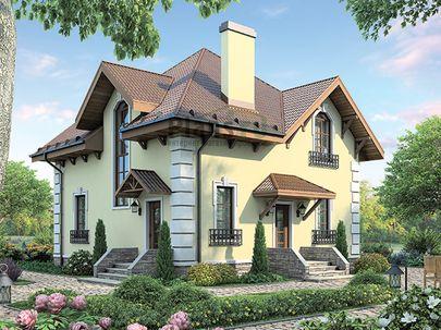 Проект дома с мансардой 9x9 метров, общей площадью 162 м2, каркасного типа, c котельной и кухней-столовой