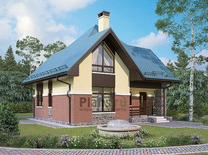 Проект дома с мансардой 9x9 метров, общей площадью 98 м2, из газобетона (пеноблоков), c террасой, котельной и кухней-столовой