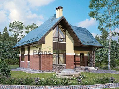 Проект дома с мансардой 9x9 метров, общей площадью 98 м2, из кирпича, c террасой, котельной и кухней-столовой