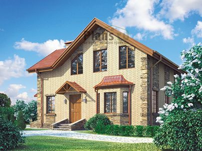 Проект дома с мансардой 9x9 метров, общей площадью 99 м2, из газобетона (пеноблоков), c котельной и кухней-столовой