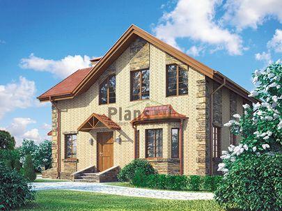 Проект дома с мансардой 9x9 метров, общей площадью 99 м2, из кирпича, c котельной и кухней-столовой