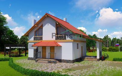 Проект дома с мансардой 9x9 метров, общей площадью 99 м2, из кирпича, со вторым светом, c террасой, котельной и кухней-столовой
