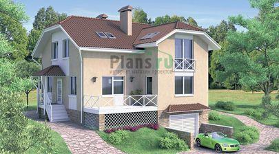 Проект дома с мансардой и цокольным этажом 10x11 метров, общей площадью 236 м2, из керамических блоков, со вторым светом, c гаражом, террасой и котельной