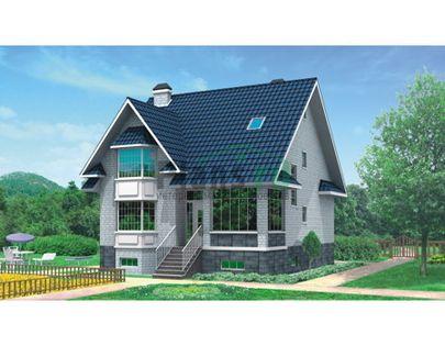 Проект дома с мансардой и цокольным этажом 10x12 метров, общей площадью 253 м2, из керамических блоков, c котельной и кухней-столовой