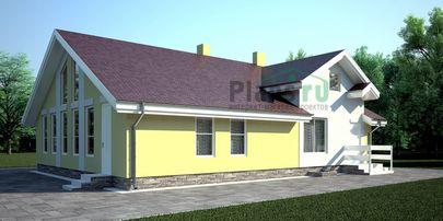 Проект дома с мансардой и цокольным этажом 10x13 метров, общей площадью 262 м2, из керамических блоков, c бассейном и котельной