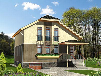 Проект дома с мансардой и цокольным этажом 10x18 метров, общей площадью 254 м2, из керамических блоков, c гаражом, террасой, котельной и кухней-столовой