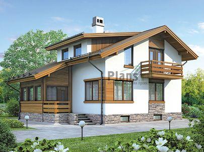 Проект дома с мансардой и цокольным этажом 10x9 метров, общей площадью 175 м2, из газобетона (пеноблоков), c террасой, котельной и кухней-столовой