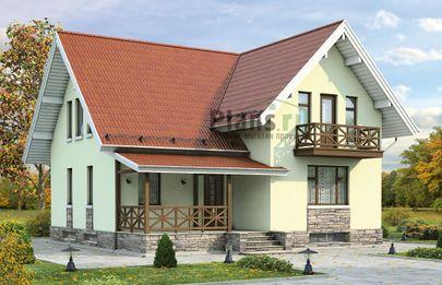 Проект дома с мансардой и цокольным этажом 10x9 метров, общей площадью 189 м2, из газобетона (пеноблоков), c террасой, котельной и кухней-столовой