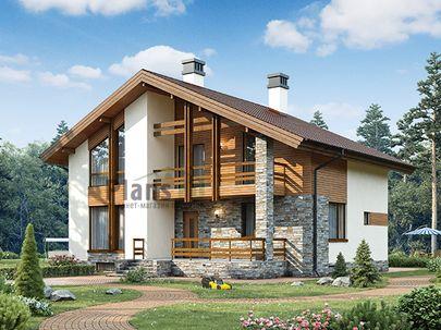 Проект дома с мансардой и цокольным этажом 11x10 метров, общей площадью 213 м2, из кирпича, c террасой, котельной и кухней-столовой