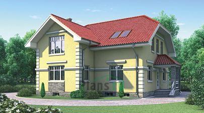 Проект дома с мансардой и цокольным этажом 11x10 метров, общей площадью 237 м2, из газобетона (пеноблоков), c котельной